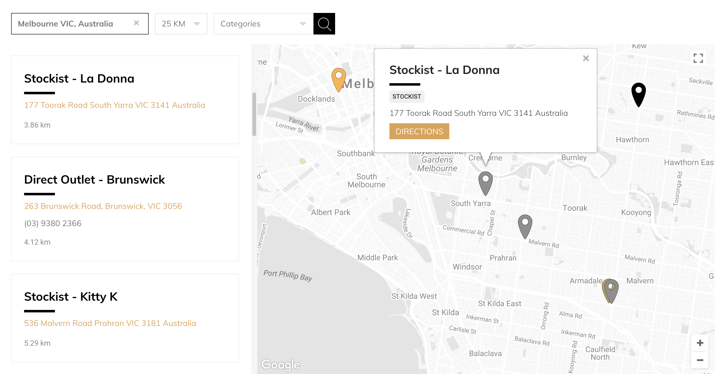 Store locator example on desktop